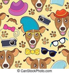 furcsa, színes, motívum, kutya, seamless, vektor, csípőre szabott, karikatúra
