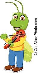 furcsa, szöcske, játék, zöld, hegedű, karikatúra