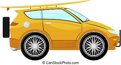 furcsa, szörfdeszka, autó, karikatúra
