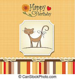 furcsa, születésnap kártya, macska