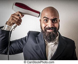 furcsa, szakállas, hairdraier, zakó, kifejezések, ember