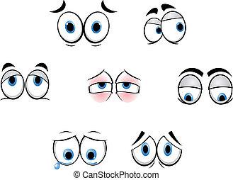 furcsa, szemek, karikatúra