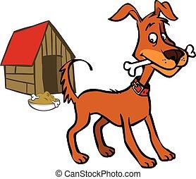 furcsa, vektor, kutya, karikatúra