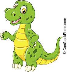 furcsa, zöld, karikatúra, dinoszaurusz