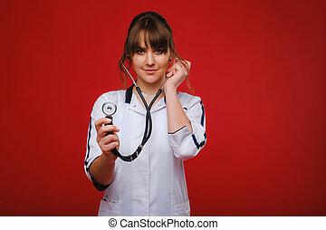 furfangos, működtető, orvos, orvosi fogalom, siker, dolgozó, szoba