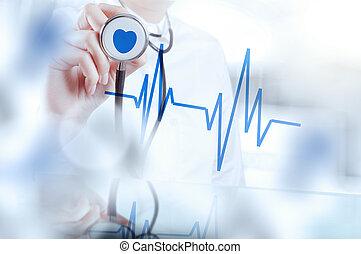 furfangos, orvos, dolgozó, működtető, orvosi, szoba, fogalom