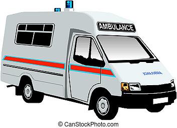 furgon, mentőautó, ábra, vektor