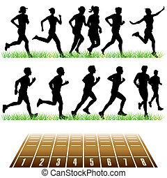 futás, állhatatos, emberek