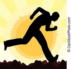 futás, árnykép, ember