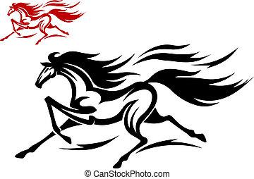 futás, amerikai félvad ló