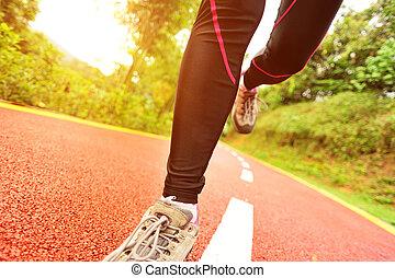 futás, combok, sport, nyom