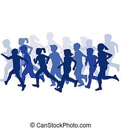 futás, csoport, körvonal, gyerekek
