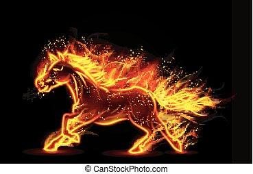 futás, elbocsát, ló, égető