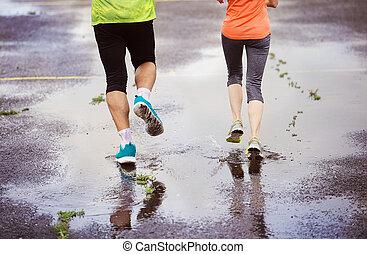 futás, esős időjárás, párosít