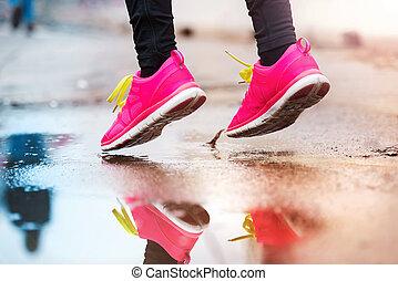 futás, esős, nő, időjárás, fiatal
