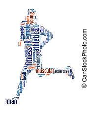futás, grafikus, info-text, ember