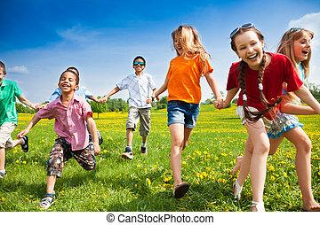 futás, gyerekek, csoport