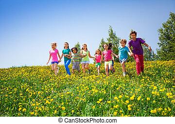 futás, gyerekek, kaszáló, hatalom kezezés