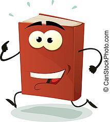 futás, könyv, betű, piros, boldog