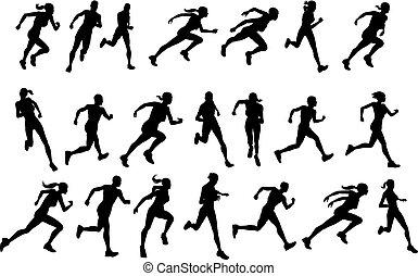futás, körvonal, csuszkák