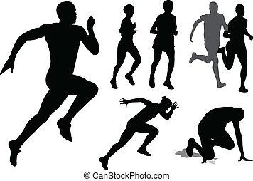 futás, körvonal, emberek