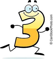 futás, karikatúra, három