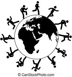 futás, mindenfelé, emberek, jelkép, globális, nemzetközi, világ