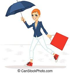 futás, nő, esernyő