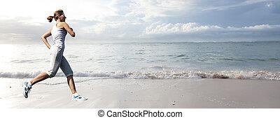 futás, nő, tengerpart.