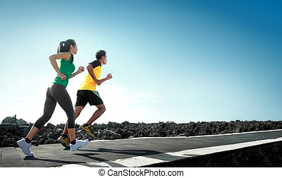 futás, outdoor sport, emberek