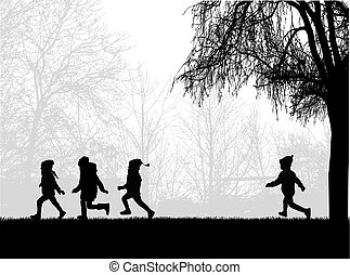 futás, park., gyerekek