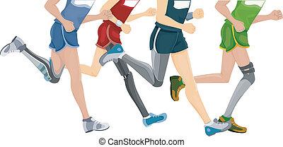 futás, prosthetic hazardőr