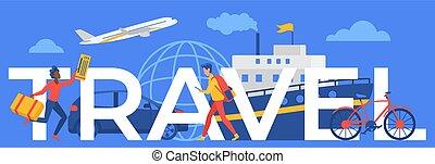 futás, szó, cédula, vagy, karikatúra, utazó, cirkálás, természetjáró, hajó, fogalom, repülőgép, utazás, utazó