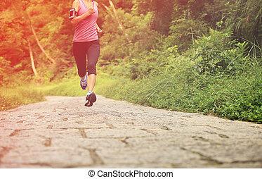 futó, erdő, atléta, futás
