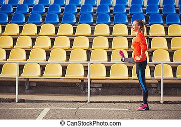 futó, felmelegedés, stadion, nő
