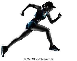 futó, kocogó, futás, nő