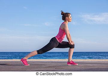 futó, kocogó, kifeszítő, vagy, gyakorlás