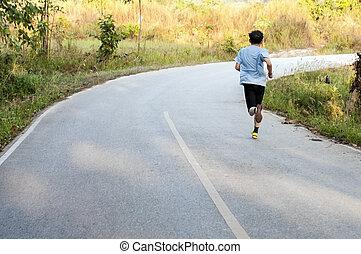 futó, maratoni futás, reggel