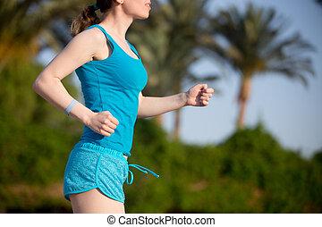 futó, nő, közelkép