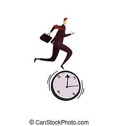 fut, ábra, háttér., vektor, clock., illeszt, fehér, ember