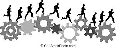 fut, ipari, ügy gép, fogaskerék-áttétel, siet, ember