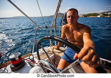 fut, vitorlázás jacht, figyelmetlen ember, ember, nyílik, sea.