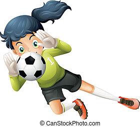 futball, leány, labda, fertőző