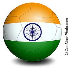 futball, lobogó, labda, india