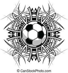 futball, törzsi, grafikus, kép
