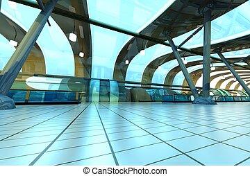 futuristic, subway állomás