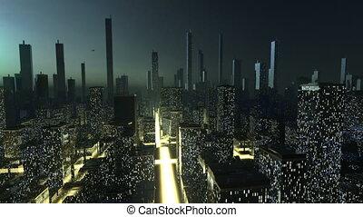 futuristic, város, fogalom