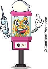 gép, ápoló, árul, karikatúra, cukorka