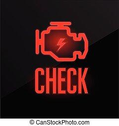 gép, csőd, indikátor, -, hunyorgó, légiriadó, műszerfal, ellenőriz, ikon