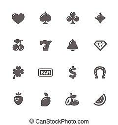 gép, egyszerű, rés, ikonok